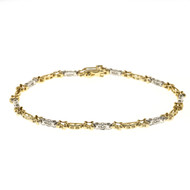 """X"" Style 1.00ct Full Cut Diamond 14k Gold Bracelet"