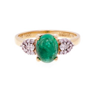 Designer Lorique Cabochon Emerald Diamond Ring 18k Yellow Gold GIA Certificate