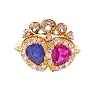 Antique Victorian Natural Ruby Sapphire Ring 18k Yellow Gold Crown Design
