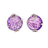 Amethyst Domed Faceted Earrings 14k White Gold Diamond Swirl Prongs