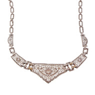 Art Deco Platinum Gold Filigree Diamond Necklace Old European Cut