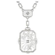 Angel Skin Quartz Diamond Necklace 14k White Gold