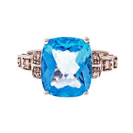 Cushion Cut Bright Blue Topaz Ring 14k White Gold Diamond