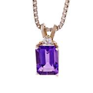 Amethyst Diamond Pendant 14k White Gold
