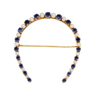 1920 Natural Montana Sapphire Horse Shoe Pin Natural Pearl 14k Yellow Gold