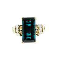 Estate Blue Indicolite Tourmaline Marquise Diamond 1960 18k Yellow Gold Ring