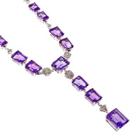 Estate Emerald Cut Amethyst Necklace 18k White Gold Diamond Accents