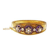 Carlo Giuliano 1870 Bangle Bracelet Amethyst Natural Pearl Rose Cut Diamond