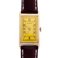 Elgin 1940 Dress Strap Watch Redone Bright Yellow Dial 14k Gold
