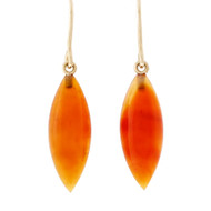 Peter Suchy Orange Translucent Calcedony Dangle Earrings 14k Yellow Gold