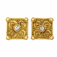Vintage 1930 Handmade Granulated Diamond Earrings 14k Yellow Gold