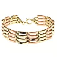 Retro 1940 Vintage Pink Green Gold Bracelet