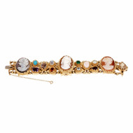 Cameo Slide Bracelet Multi Stone Watch 14k Yellow Gold