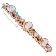 Cameo Slide Bracelet Multi Stone Watch 14k Yellow Gold