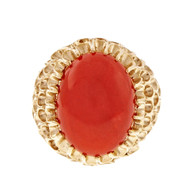 Natural Certified Red Orange Coral Ring Baden & Foss 14k Yellow Gold