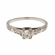 Estate Old European Diamond Engagement Ring Petite 18k White Gold