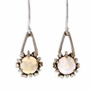 Estate 1950 Opal Dangle Earrings 14k White Gold