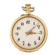 LeCoultre Antique Pendant Watch 1890 Lever Set 18k Gold With Enamel