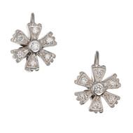 Doris Panos 18k White gold .30ct Diamond Flower Earrings