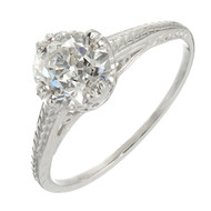 1890 Filigree Engagement Ring Cushion Oval Platinum GIA Certified