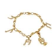 Music Note & Instrument Diamond Bracelet 18k Yellow Gold