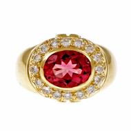 Bright Pink Tourmaline Ring 18k Yellow Gold Diamond
