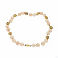 1960 Natural GIA Certified Gold Bead Shell Necklace 14k 18k Diamond Clasp