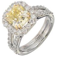 Peter Suchy Natural Yellow Diamond Platinum Ring
