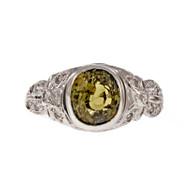 Antique Estate 1910 Alexandrite Ring Platinum Diamond