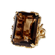 Estate 1950 Large Emerald Cut Smoky Quartz Ring 14k Yellow Gold