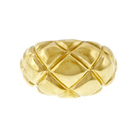 Estate 1960 Dome Ring 18k Yellow Gold Criss Cross Design