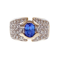 Tanzanite Pavé Diamond Ring 18k Yellow Gold