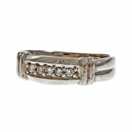 Estate Men's Diamond Wedding Band Ring 14k White Gold