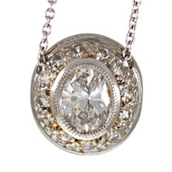 Peter Suchy Pavé Oval Diamond Pendant Platinum