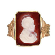 Vintage Rose & Yellow Gold Carved Rectangular Carnelian Ring Soldier Profile