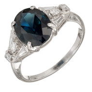 3.30ct Natural Dark Blue Sapphire Platinum Diamond Ring