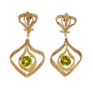 Estate Hand Woven Italian Peridot Dangle Earrings 18k Yellow Gold