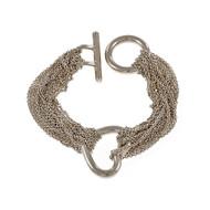 Estate Multi Strand Silver Heart Toggle Bracelet