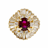 Vintage 1960 Ballerina Ring Red Ruby Baguette Round Diamonds 18k GIA Certified