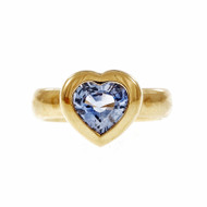 Tiffany Blue Sapphire Heart Ring 18k Yellow Gold Periwinkle Blue