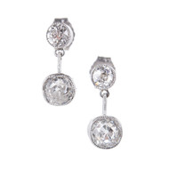 Antique Victorian Old Mine Diamond 1.56ct Platinum Bezel Dangle Earrings