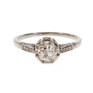 Vintage Old Mine Cushion Cut Diamond Engagement Ring Platinum
