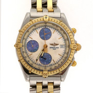 Breitling 1884 Chronograph 18k Steel Rare Yellow Blue Mother Of Pearl Dial Watch