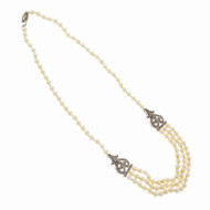 Elegant Cultured Freshwater Pearl Necklace 3 Strand Diamond 18k White Gold