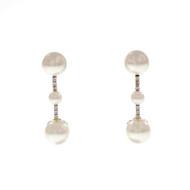 Cultured Pearl Diamond Dangle Earrings High Grade Fresh Water 18k White Gold