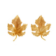 Vintage Maple Leaf Earrings 14k Yellow Gold