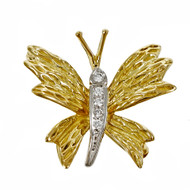 Estate Tiffany & Co Butterfly Pin 18k Yellow Gold Diamond Platinum