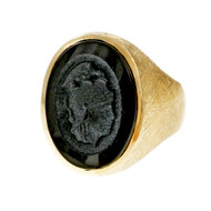 Estate Men's Carved Black Onyx Ring 14k Yellow Gold