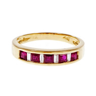 Estate Channel Set Ruby Diamond Wedding Band Ring 18k Yellow Gold