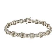Estate Textured Hinged Link Diamond Bracelet 14k White Gold